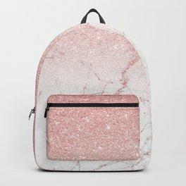 Rose Glitter Pink Marble Backpack
