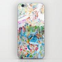 boston map iPhone & iPod Skins featuring boston city skyline map by Bekim ART