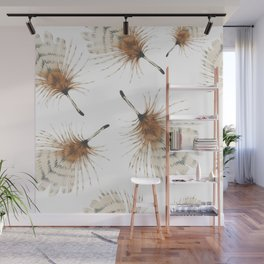 Delicate Brown Feather Seamless Pattern Wall Mural