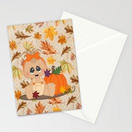 Fall Pumpkin Girl Stationery Cards