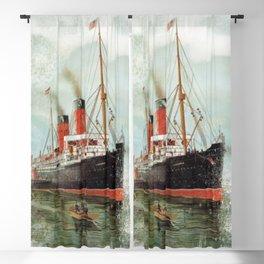 Vintage -  Ship -  Steam -  Sea -  Clouds -  Boat -  Nautical - Vintage illustration. Retro décor. Blackout Curtain