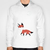 orange Hoodies featuring Moon Fox by Freeminds