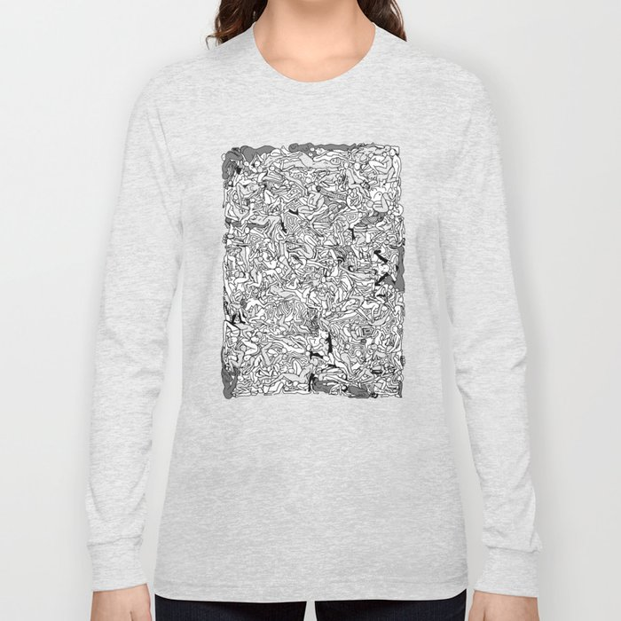 Lots of Bodies Doodle in Black and White Long Sleeve T-shirt