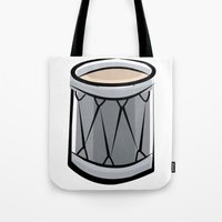 drum Tote Bags featuring Drum by shopaholic chick