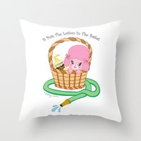 silence of the lambs Throw Pillows featuring It puts the lotion in the basket. // Silence of the Lambs by Dueling Doodlers