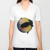 toothless V-neck T-shirts featuring Toothless by Emilee's Fine Art