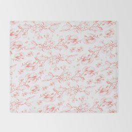 Red pohutukawa pattern Throw Blanket