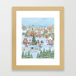 Santa's Christmas Winter Village Framed Art Print