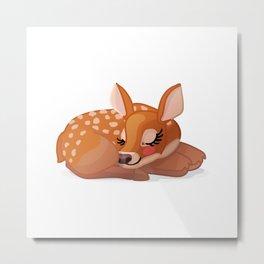 Cute fawn Red deer (Cervus Elaphus). Sleeping baby bambi Metal Print