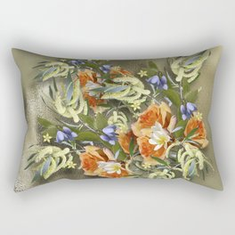 Beautiful flower bouquet on shimmering gold Rectangular Pillow