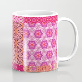 Digital Pink and Orange Patchwork Quilt Coffee Mug