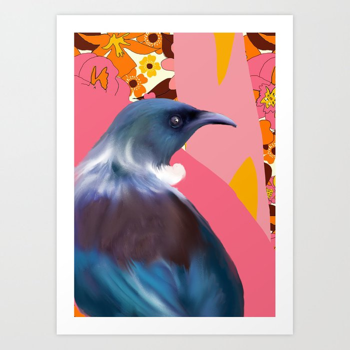 Tui with Retro floral wallpaper Art Print