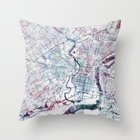 philadelphia Throw Pillows featuring Philadelphia map by MapMapMaps.Watercolors