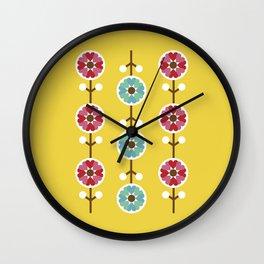 Scandinavian inspired flower pattern - yellow background Wall Clock