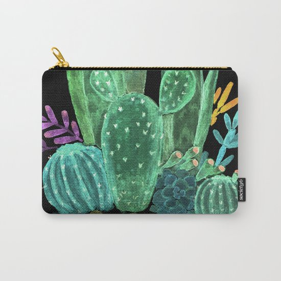Cacti and succulents on a black background. Carry-All Pouch