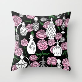 Perfume and Peonies Black and White Throw Pillow