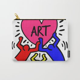 """Keith Haring inspired """"I Love Art"""" Primary Colors edition Carry-All Pouch"""