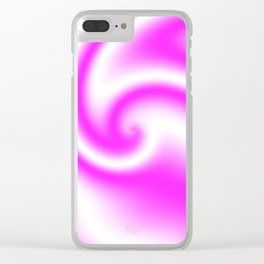 Raspberry Ribbon Candy Fractal Clear iPhone Case