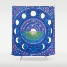Moon Phase Mandala Shower Curtain