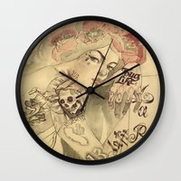 mucha Wall Clocks featuring mucha cholo by paolo de jesus