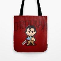 evil dead Tote Bags featuring Evil Dead Pixels by Jango Snow