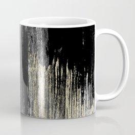 Abstract modern black gray gold glitter brushstrokes Coffee Mug