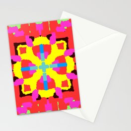 Key Lime Geometric Fuzzy Floral Stationery Cards