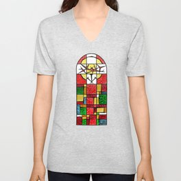 Abstract, square, qubism, red, Crucifixion, crown of thorns, Jesus, Christ Unisex V-Neck