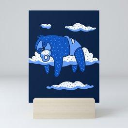 Cute Cartoon Animal Art Baby Sloth Sleeping In Clouds In Blue Mini Art Print