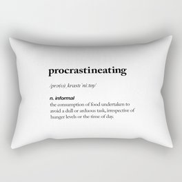 Procrastineating black and white contemporary minimalism typography design home wall decor bedroom Rectangular Pillow