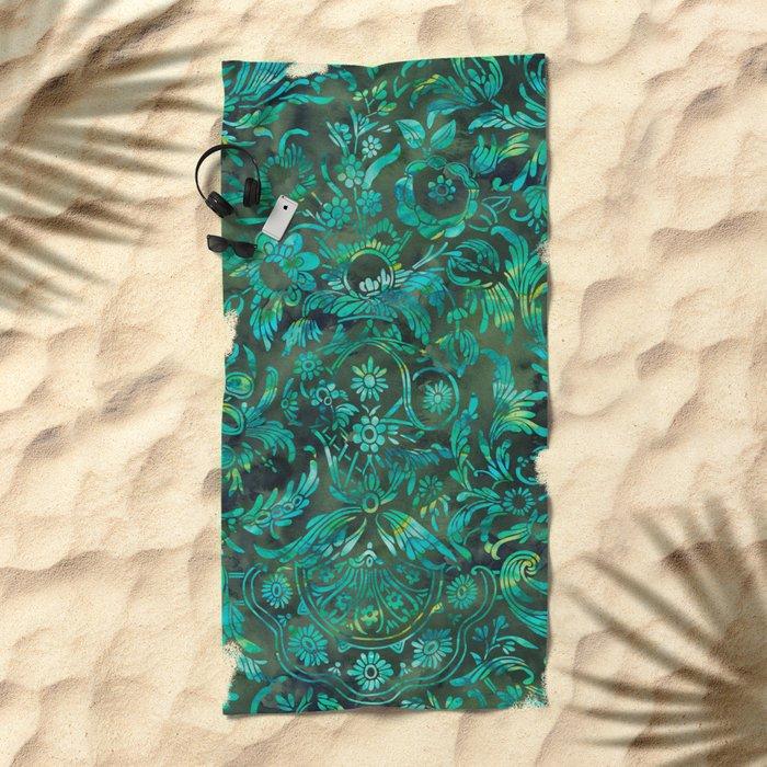 Watercolor Damask Pattern 05 Beach Towel