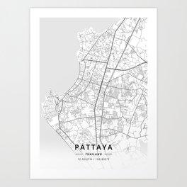 Pattaya, Thailand - Light Map Art Print