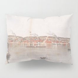 Vintage Pictorial Map of Davenport IA (1855) Pillow Sham