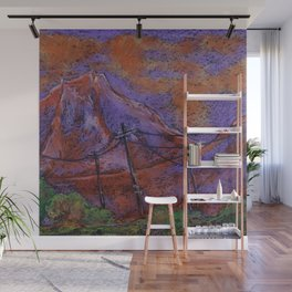 Abstract pastel landscape with violet-orange mountains Wall Mural