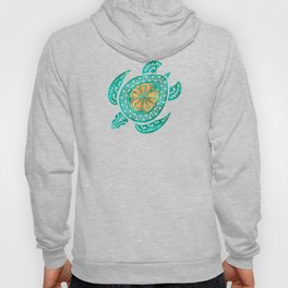 Maui Plumeria Watercolor Turtle Hoody