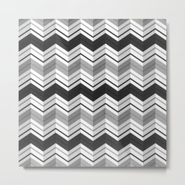 CHEVRON STRIPES - BLACK Metal Print