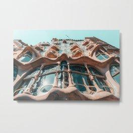 Casa Batllo, Barcelona Travel Print, Antoni Gaudi Architecture, Famous Spain Attractions, Touristic Landmark, Organic Modernist Architecture Building Facade Metal Print