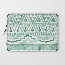 Watercolor Aztec Pattern Green Laptop Sleeve