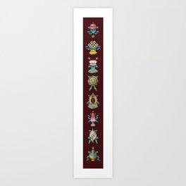 Ashtamangala / Eight Auspicious Buddhist Signs Art Print