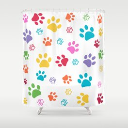 Colorful paw pattern background Shower Curtain
