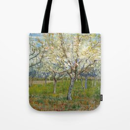 Orchard with Blossoming Apricot Trees by Vincent van Gogh Tote Bag
