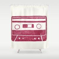cassette Shower Curtains featuring Cassette by Brita A