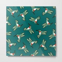 Hummingbird Pattern Metal Print