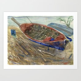 The old chabby boat on the sand Art Print