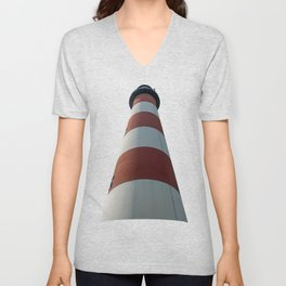 Looking Up at the Assateague Lighthouse in Chincoteague National Wildlife Refuge Virginia  Unisex V-Neck