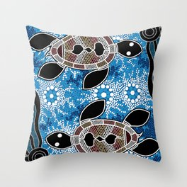 Aboriginal Art - Sea Turtles Throw Pillow