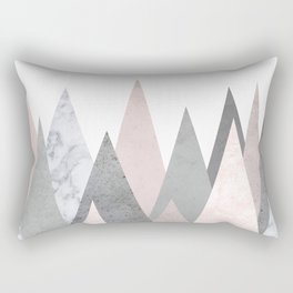 BLUSH MARBLE GRAY GEOMETRIC MOUNTAINS Rectangular Pillow
