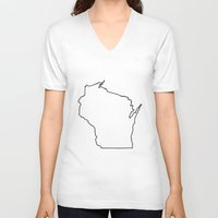 wisconsin V-neck T-shirts featuring Wisconsin by mrTidwell