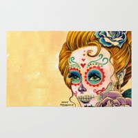 fitzgerald Area & Throw Rugs featuring Dia de los Muertos Roses by Cathy FitzGerald