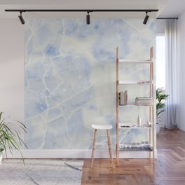 Blue and White Marble Waves Wall Mural